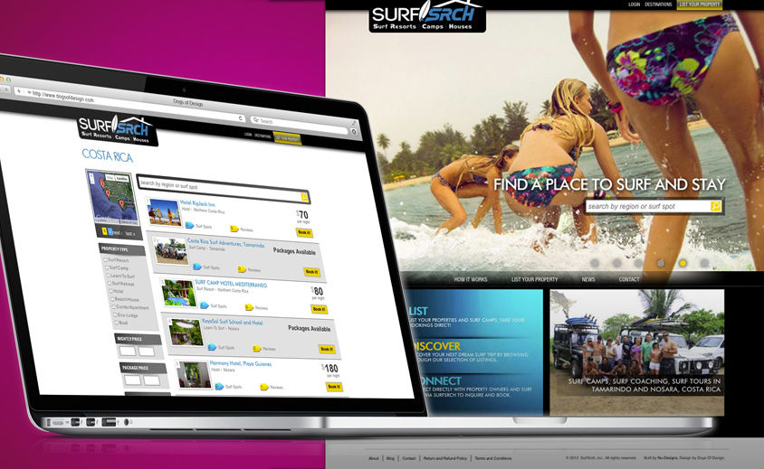 Website Design and Development: SurfSrch Travel