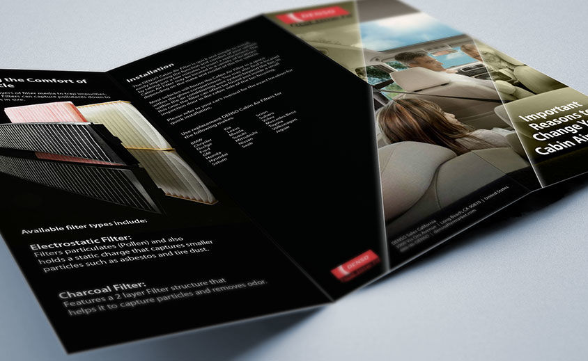 Print Brochure Design: DENSO Auto Parts Cabin Air Filters
