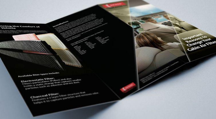 Print Brochure Design: DENSO Auto Parts Cabin Air Filters