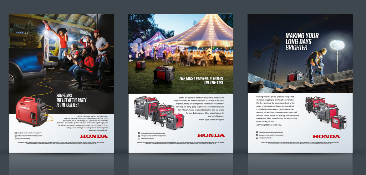 Los Angeles advertising graphic design for Honda Power Equipment print ad campaign.